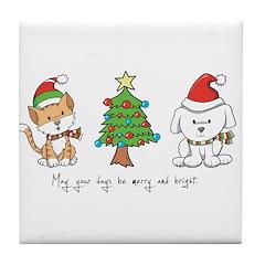 Cat and Dog Christmas Tile Coaster