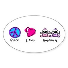 Peace Love and Twin Girls Oval Decal