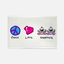 Peace Love and Twin Girls Rectangle Magnet