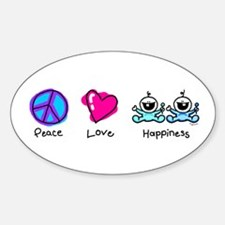 Peace Love and Twin Boys Oval Decal