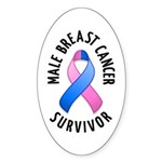 Male Breast Cancer Survivor Oval Sticker (10 pk)