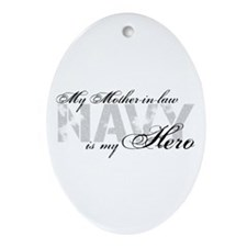 Mother-in-law is my Hero NAVY Oval Ornament