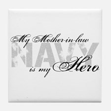 Mother-in-law is my Hero NAVY Tile Coaster