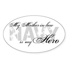 Mother-in-law is my Hero NAVY Oval Decal