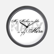 Mother-in-law is my Hero NAVY Wall Clock