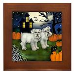 WHITE SCHNAUZER DOGS HALLOWEEN NIGHT Framed Tile