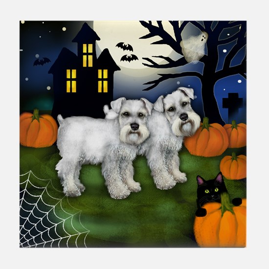 WHITE SCHNAUZER DOGS HALLOWEEN NIGHT Tile Coaster