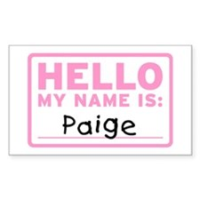 Hello My Name Is: Paige - Rectangle Decal