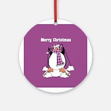 Purple Skiing Penguin Christmas Ornament (Round)