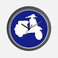 Retro Blue Scooter Dot Wall Clock
