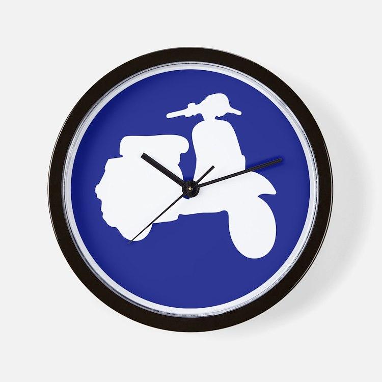 Retro Blue Scooter Dot Wall Clock