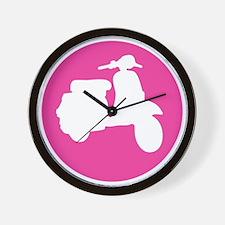 Retro Pink Scooter Dot Wall Clock