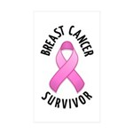 Breast Cancer Survivor Rectangle Sticker 10 pk)