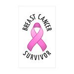 Breast Cancer Survivor Rectangle Sticker 50 pk)