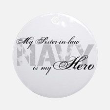 Sister-in-law is my Hero NAVY Ornament (Round)