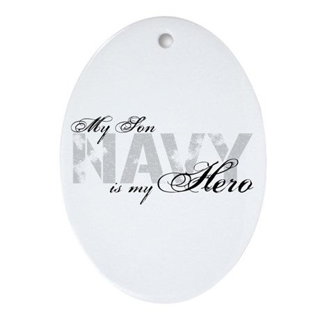 Son is my Hero NAVY Oval Ornament