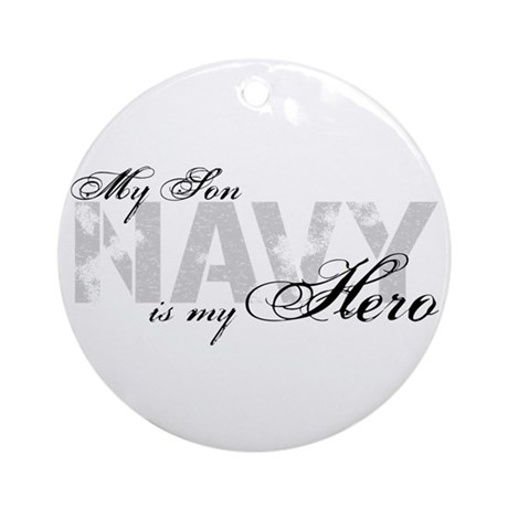 Son is my Hero NAVY Ornament (Round)