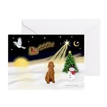 NightFlight/Poodle (ST-Apr) Greeting Cards (Pk of