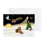 NightFlight-2Airedales Greeting Cards (Pk of 20)