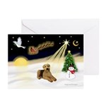 XmasSunrise-2 Airedales Greeting Cards (Pk of 20)