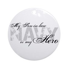 Son-in-law is my Hero NAVY Ornament (Round)