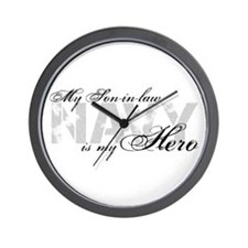 Son-in-law is my Hero NAVY Wall Clock