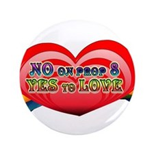 "No on Prop 8, Yes to Love 3.5"" Button (100 pack)"