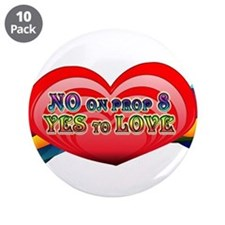 """No on Prop 8, Yes to Love 3.5"""" Button (10 pack)"""