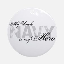 Uncle is my Hero NAVY Ornament (Round)