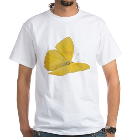 Yellow Butterfly (Bug 7) White T-Shirt