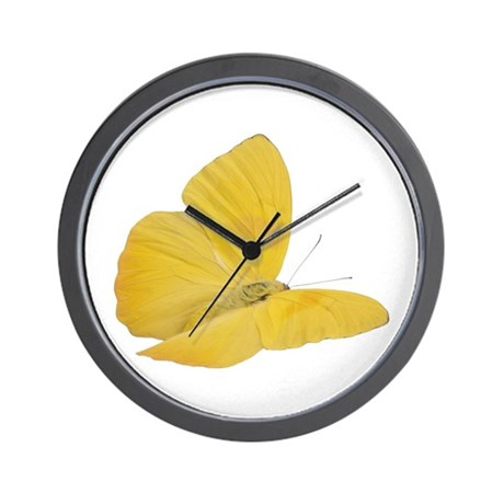 yellow butterfly bug 7 wall clock by wildcucumber