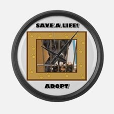Adopt a puppy Large Wall Clock