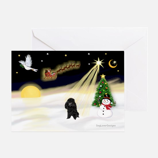 Night Flight/Poodle (Min) Greeting Card