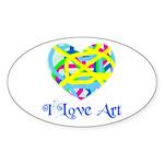 I LOVE ART Oval Sticker