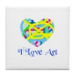 I LOVE ART Tile Coaster