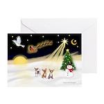 Night Flight/3 Chihuahuas Greeting Cards(Pk of 10)