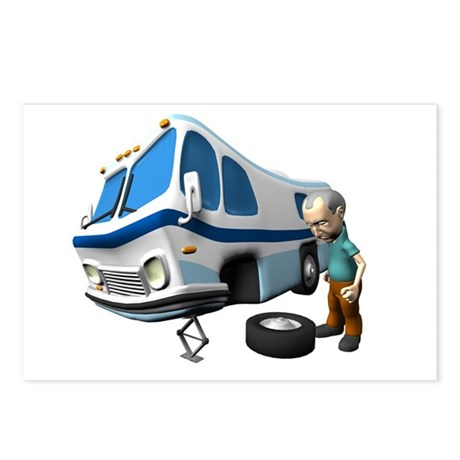 RV Flat Tire Postcards (Package of 8)