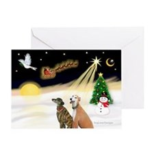 Night Flight/2 Greyhounds Greeting Card