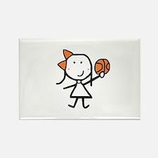 Girl & Basketball Rectangle Magnet