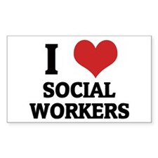 I Love Social Workers Rectangle Decal