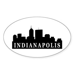 Indianapolis Skyline Oval Sticker (10 pk)