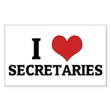 I Love Secretaries Rectangle Decal