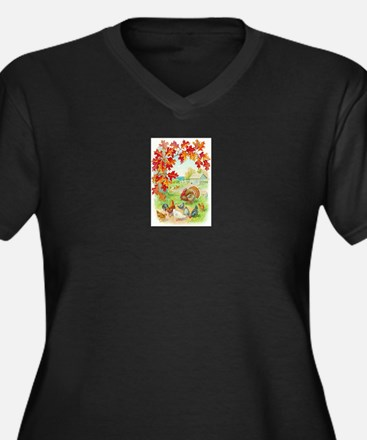 Thanksgiving Farm Design Women's Plus Size V-Neck