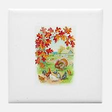 Thanksgiving Farm Design Tile Coaster