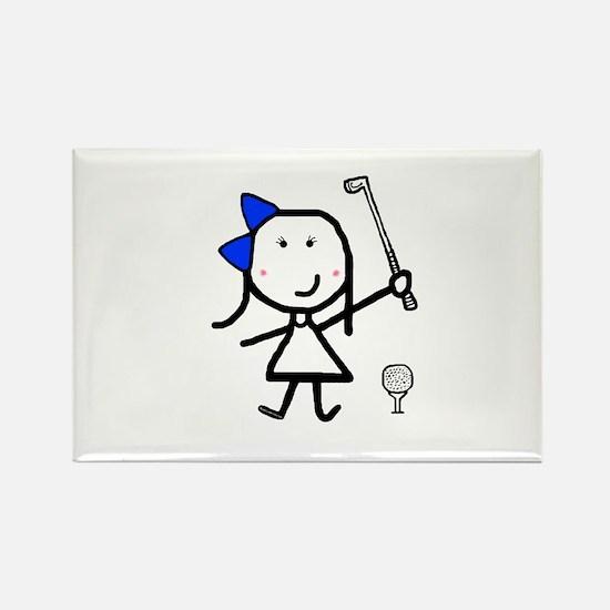 Girl & Golf Rectangle Magnet