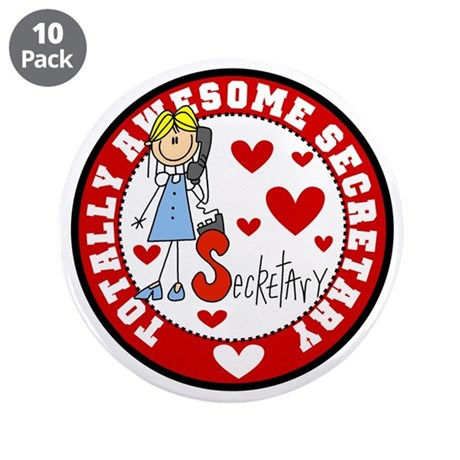 """Totally Awesome Secretary 3.5"""" Button (10 pack)"""