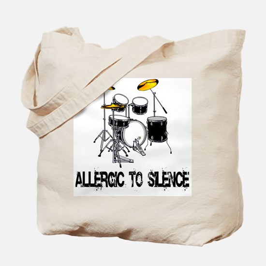 Allergic to silence drummer Tote Bag