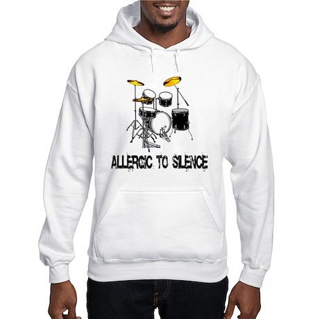 Allergic to silence drummer Hooded Sweatshirt