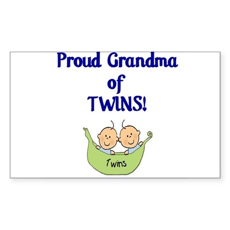 Grandma of Twins Rectangle Sticker