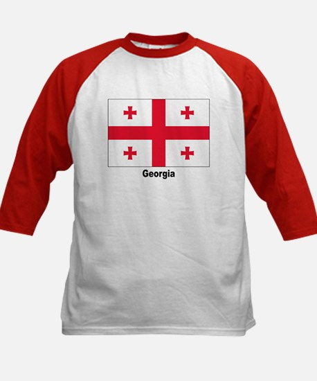 Georgia Flag (Front) Kids Baseball Jersey